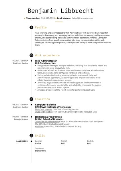 Web Administrator Resume Sample