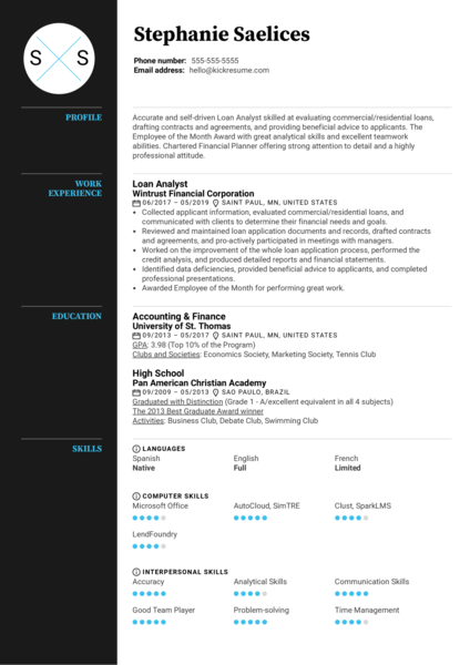 Loan Analyst Resume Example