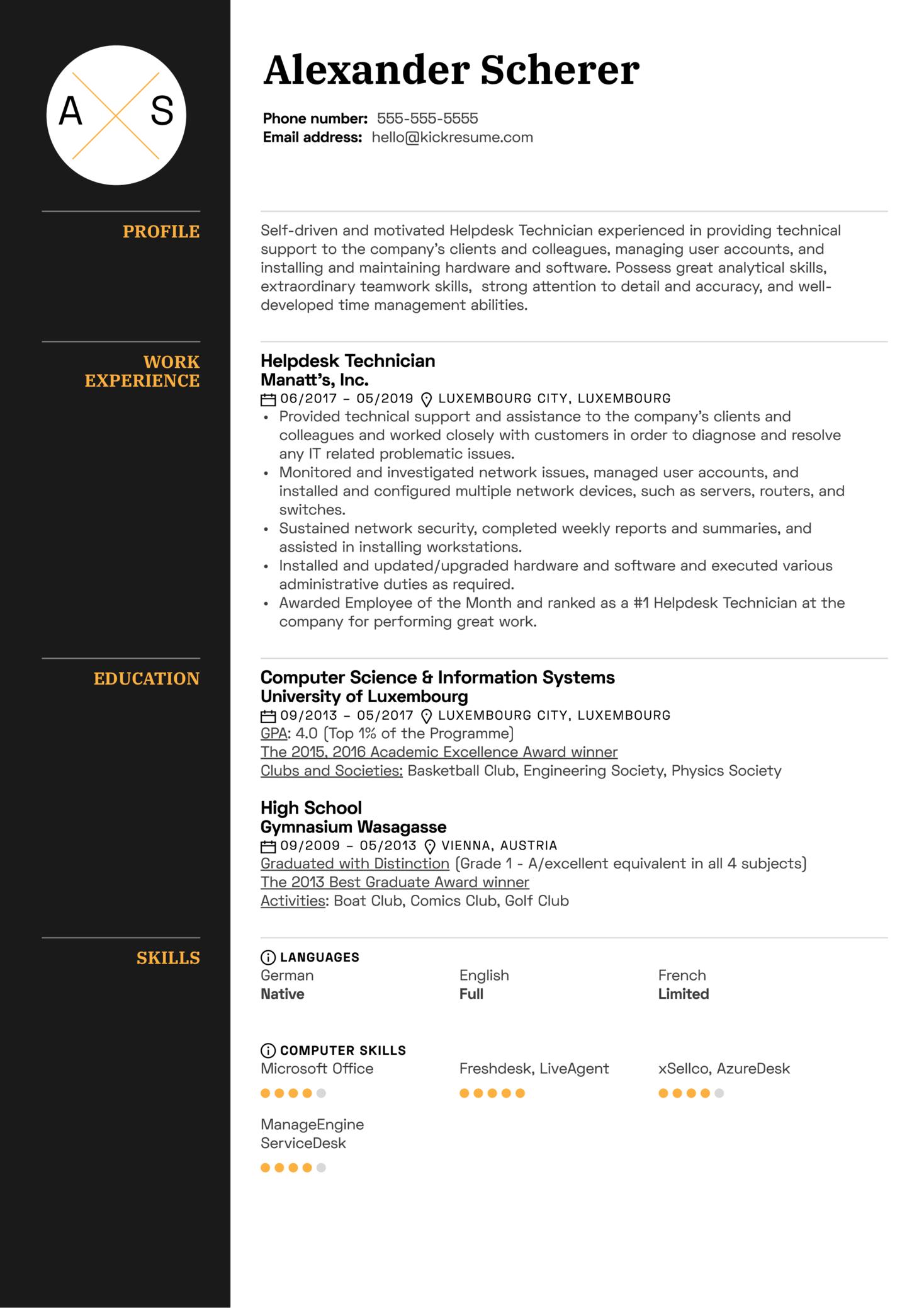 Helpdesk Technician Resume Sample (Part 1)