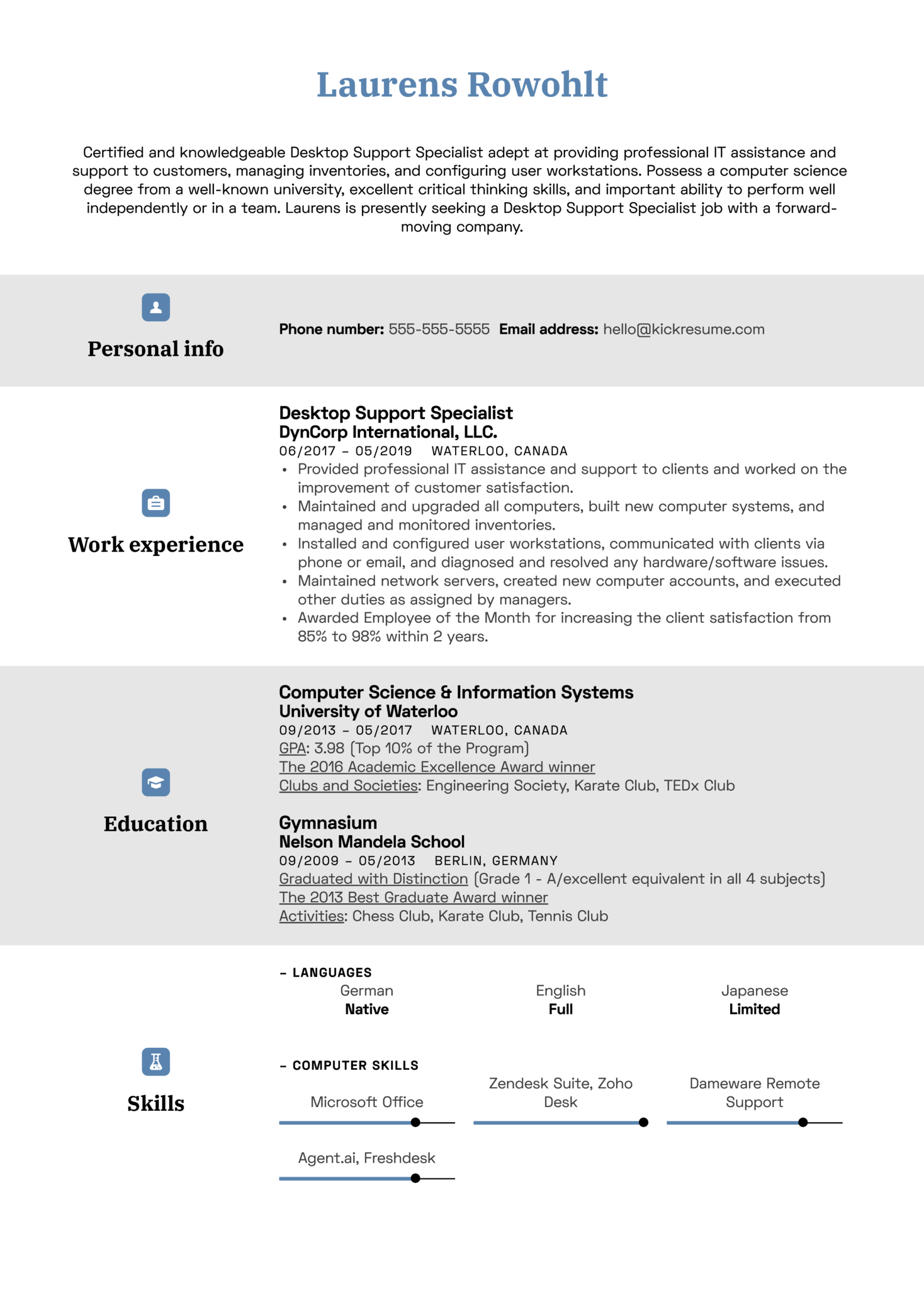 Desktop Support Specialist Resume Sample (Part 1)