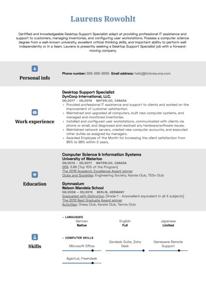 Desktop Support Specialist Resume Sample