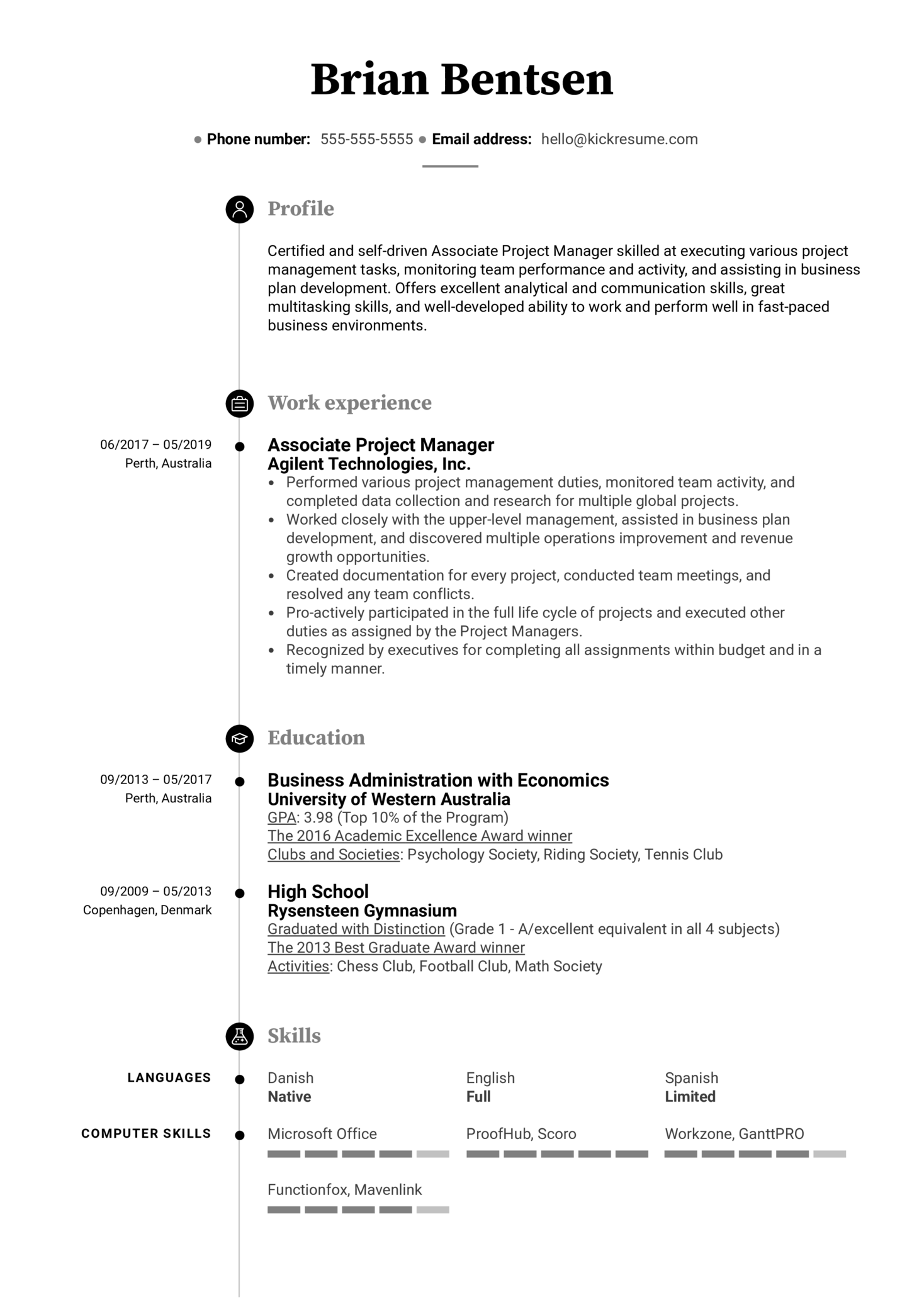 Associate Project Manager Resume Example (Part 1)