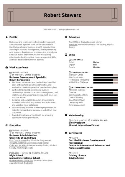 Business Development Specialist Resume Sample
