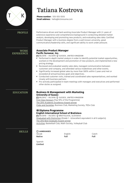 Associate Product Manager Resume Example