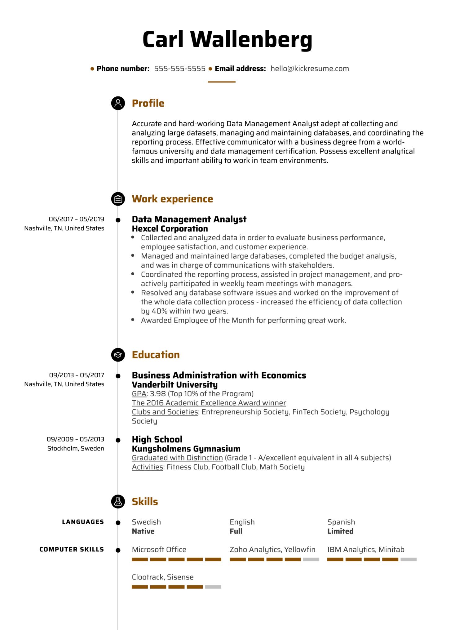 Data Management Analyst Resume Example (Part 1)