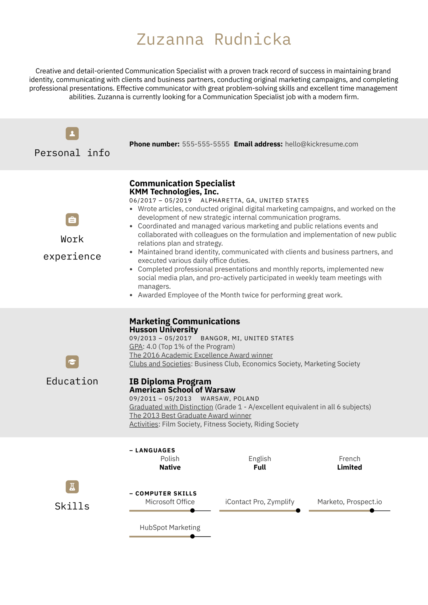 Communication Specialist Resume Sample (Parte 1)