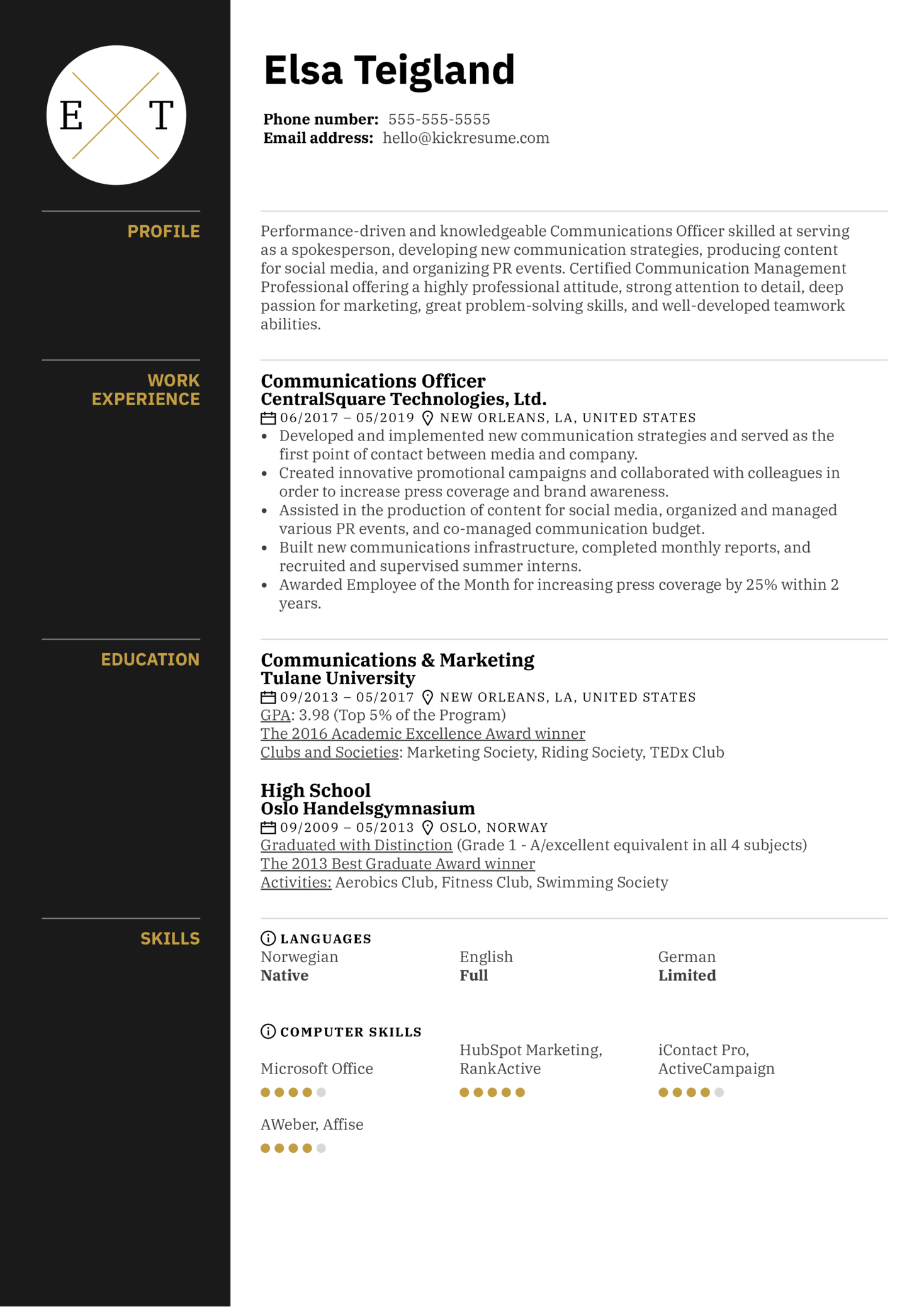 Communications Officer Resume Example (Parte 1)