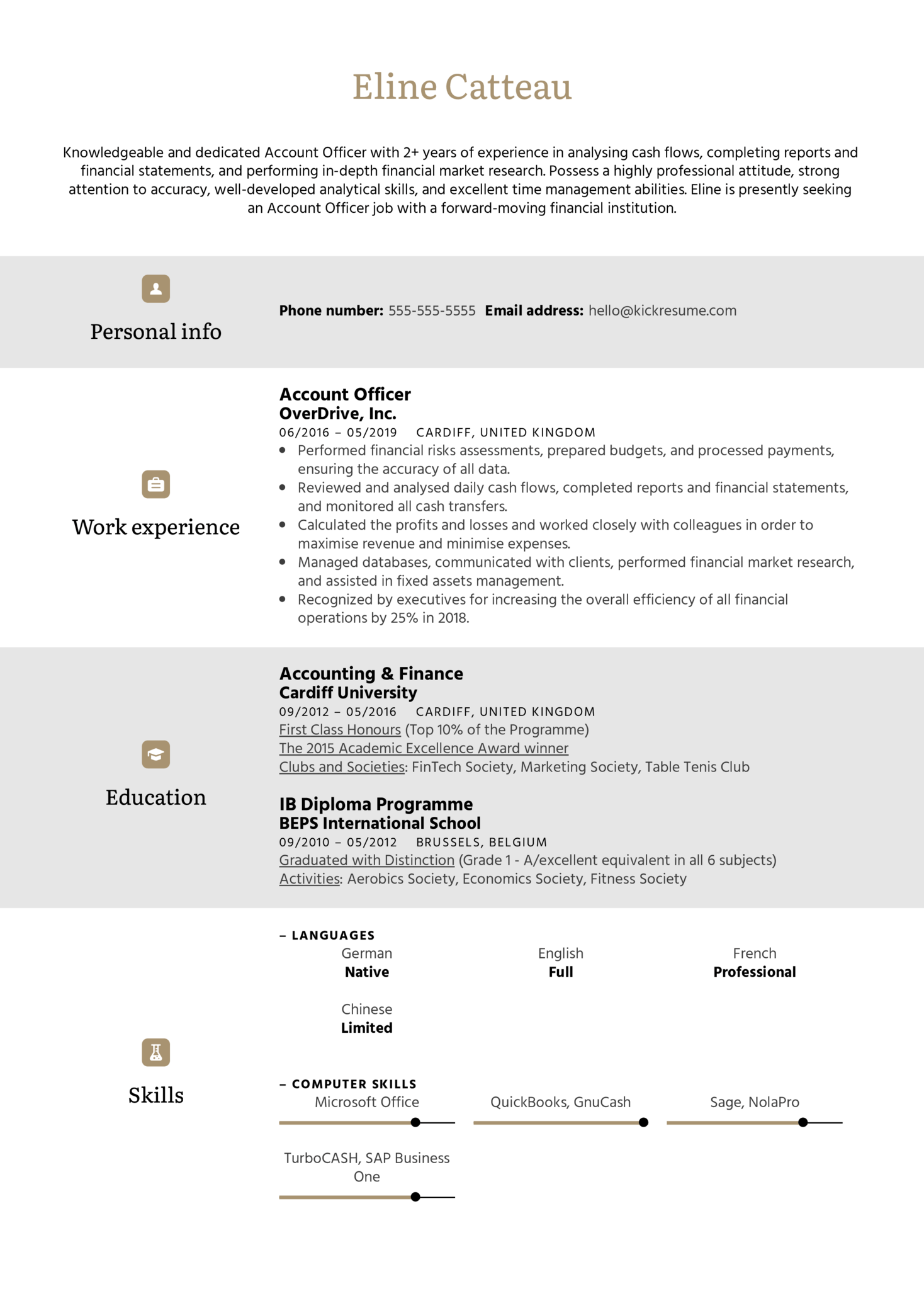 Account Officer Resume Sample (Part 1)