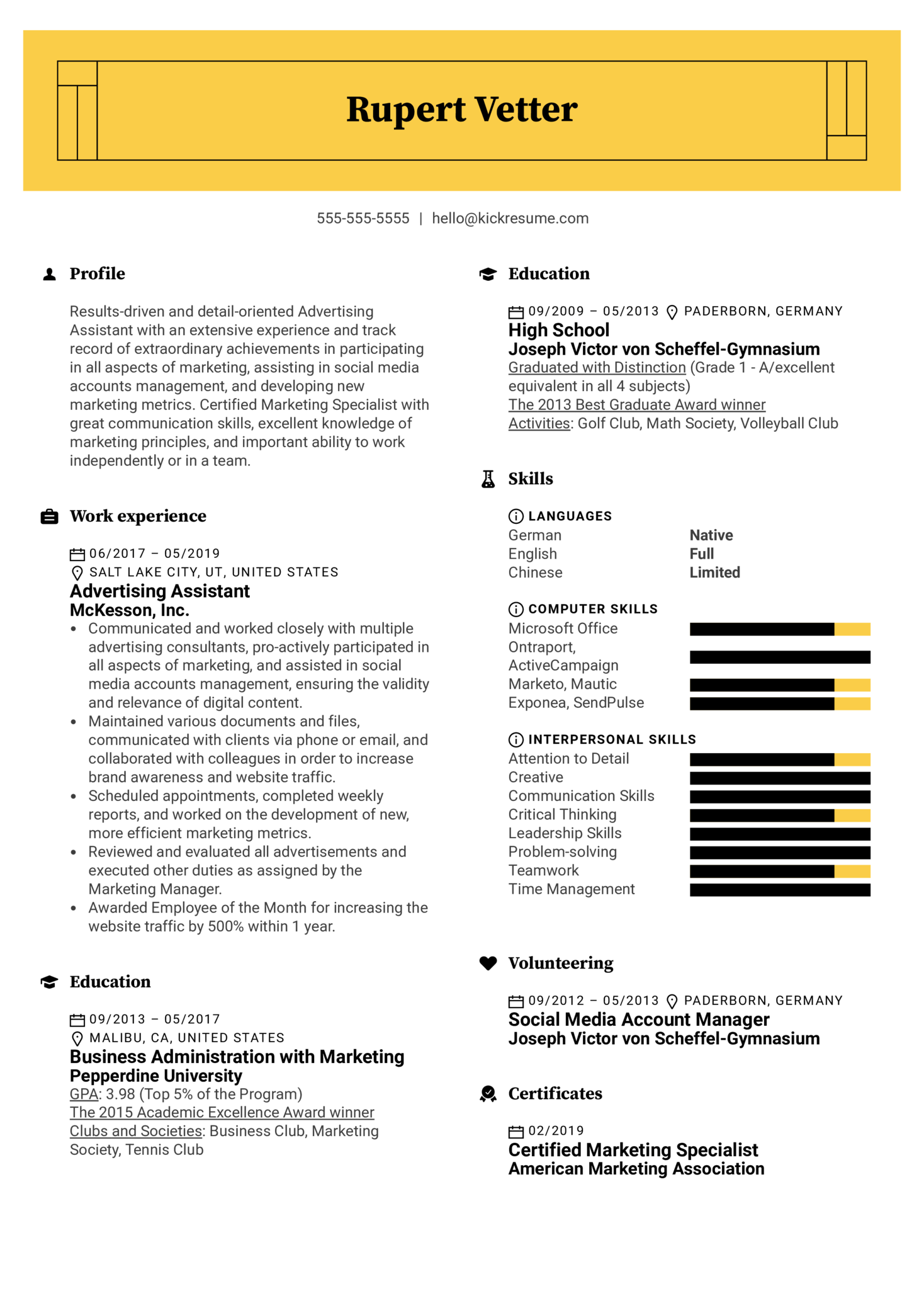 Advertising Assistant Resume Sample (Part 1)