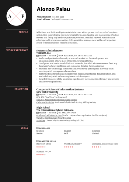 Systems Administrator Resume Sample