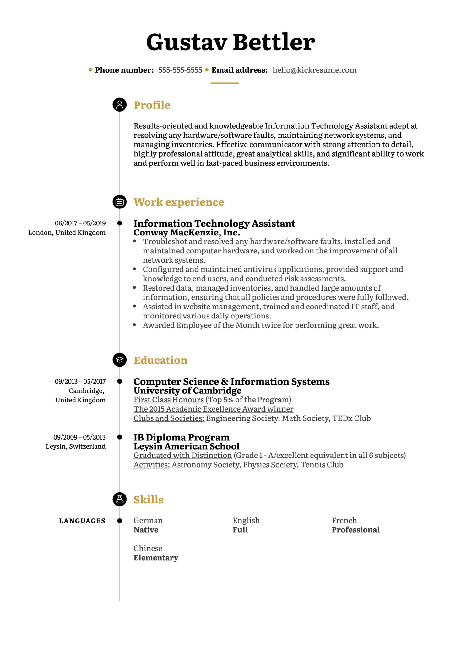 Information Technology Assistant Resume Sample (Part 1)
