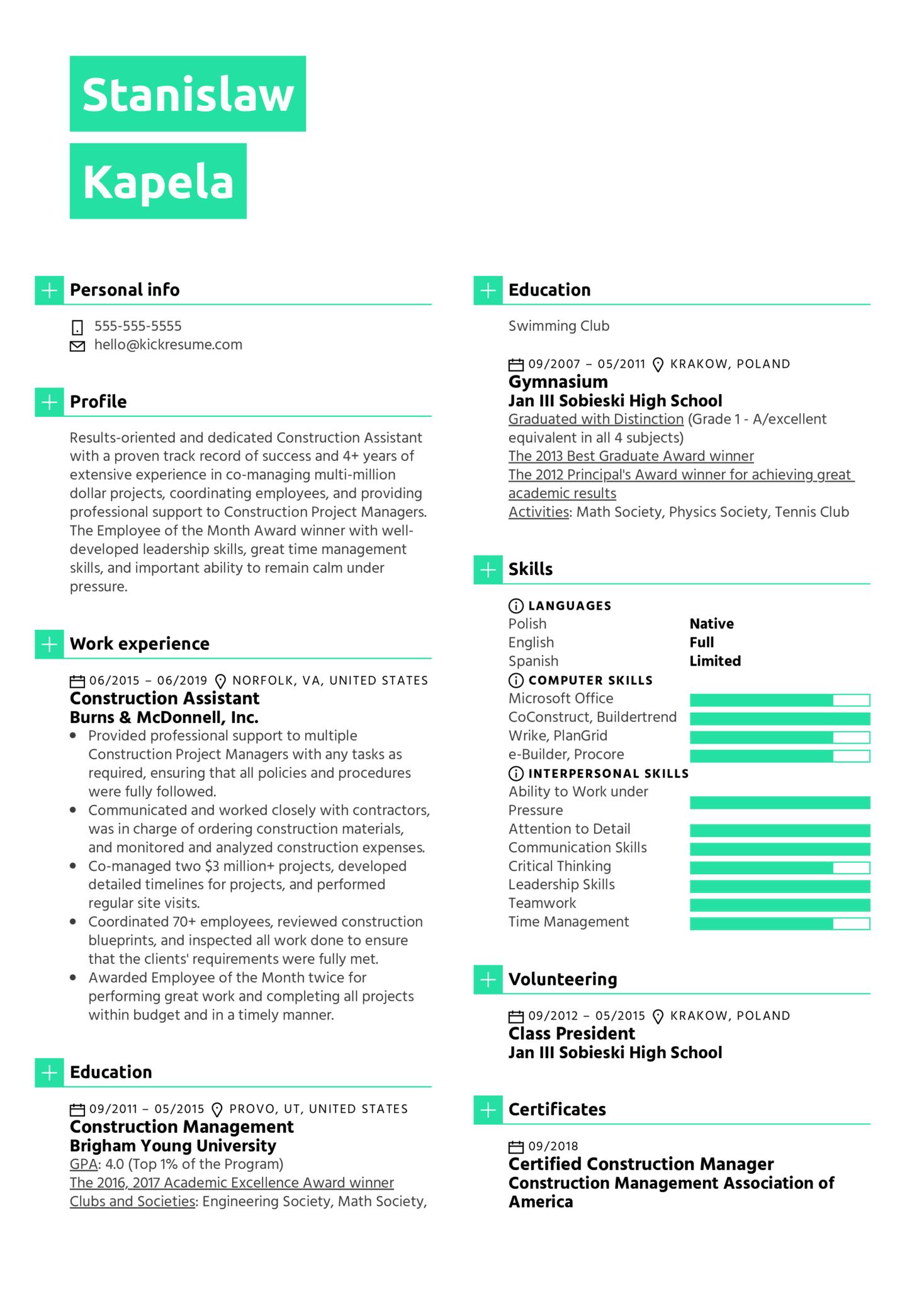 Construction Assistant Resume Sample (Part 1)