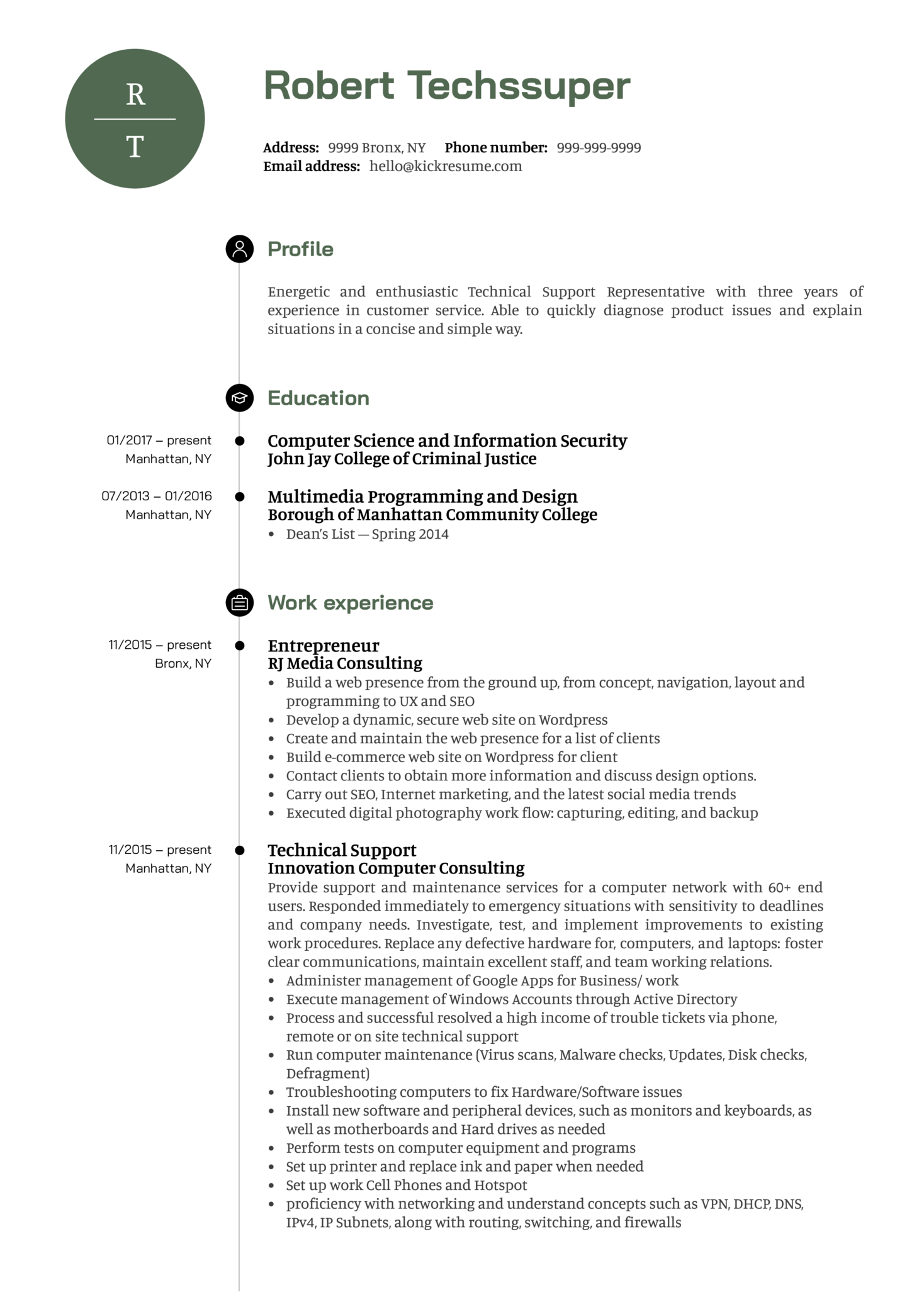 Technical Support Representative Resume Sample (parte 1)