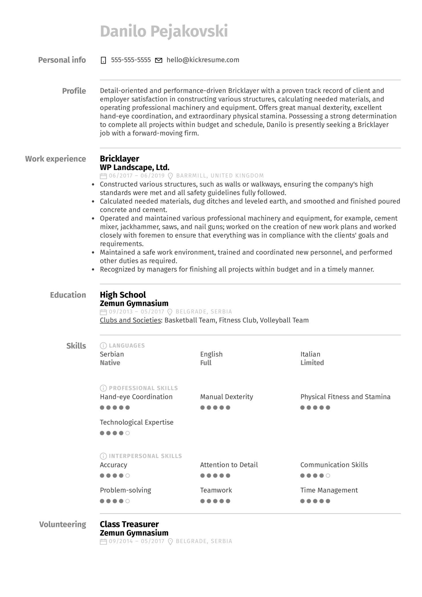 Bricklayer Resume Sample (Part 1)