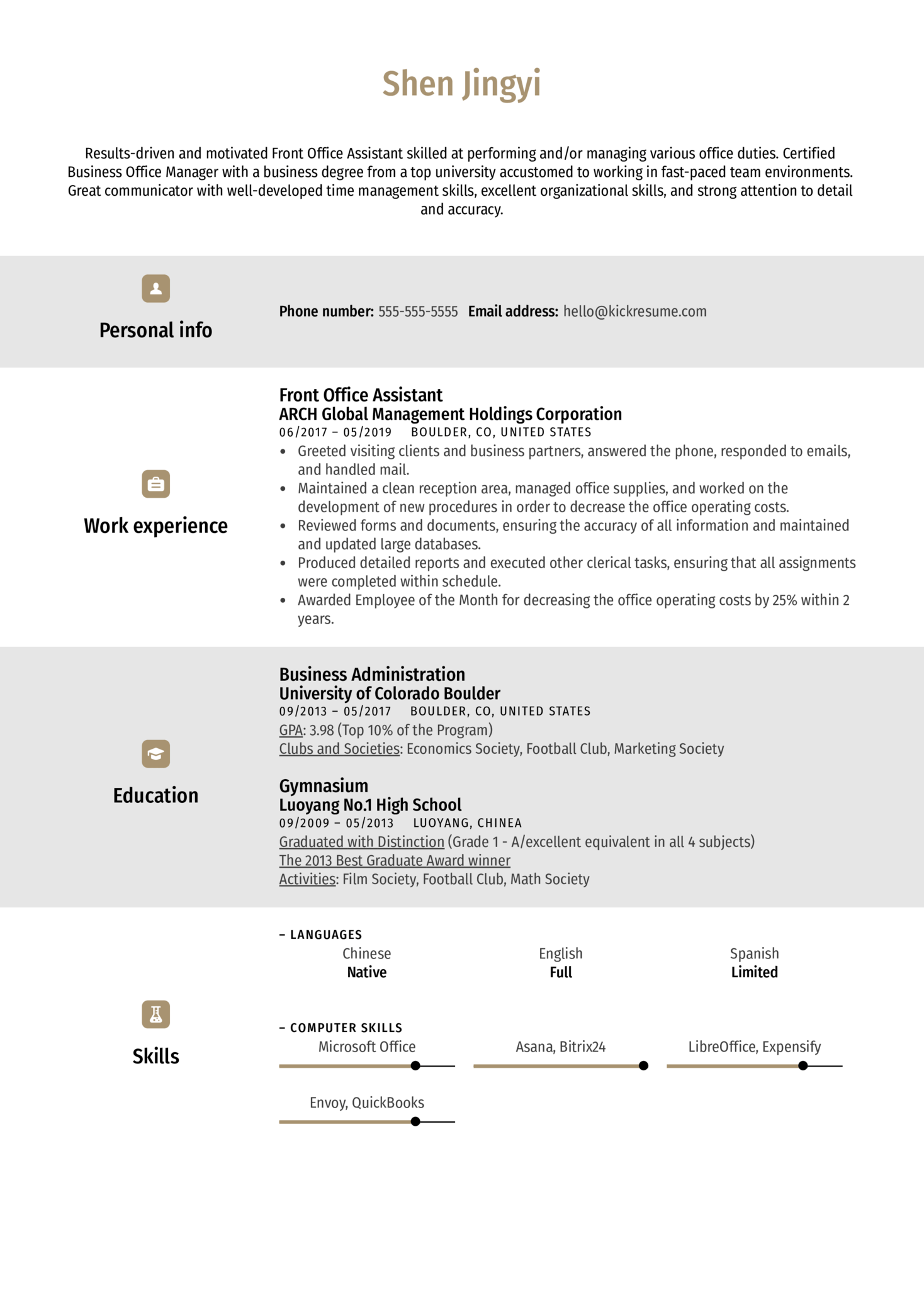 Front Office Assistant Resume Example (Part 1)