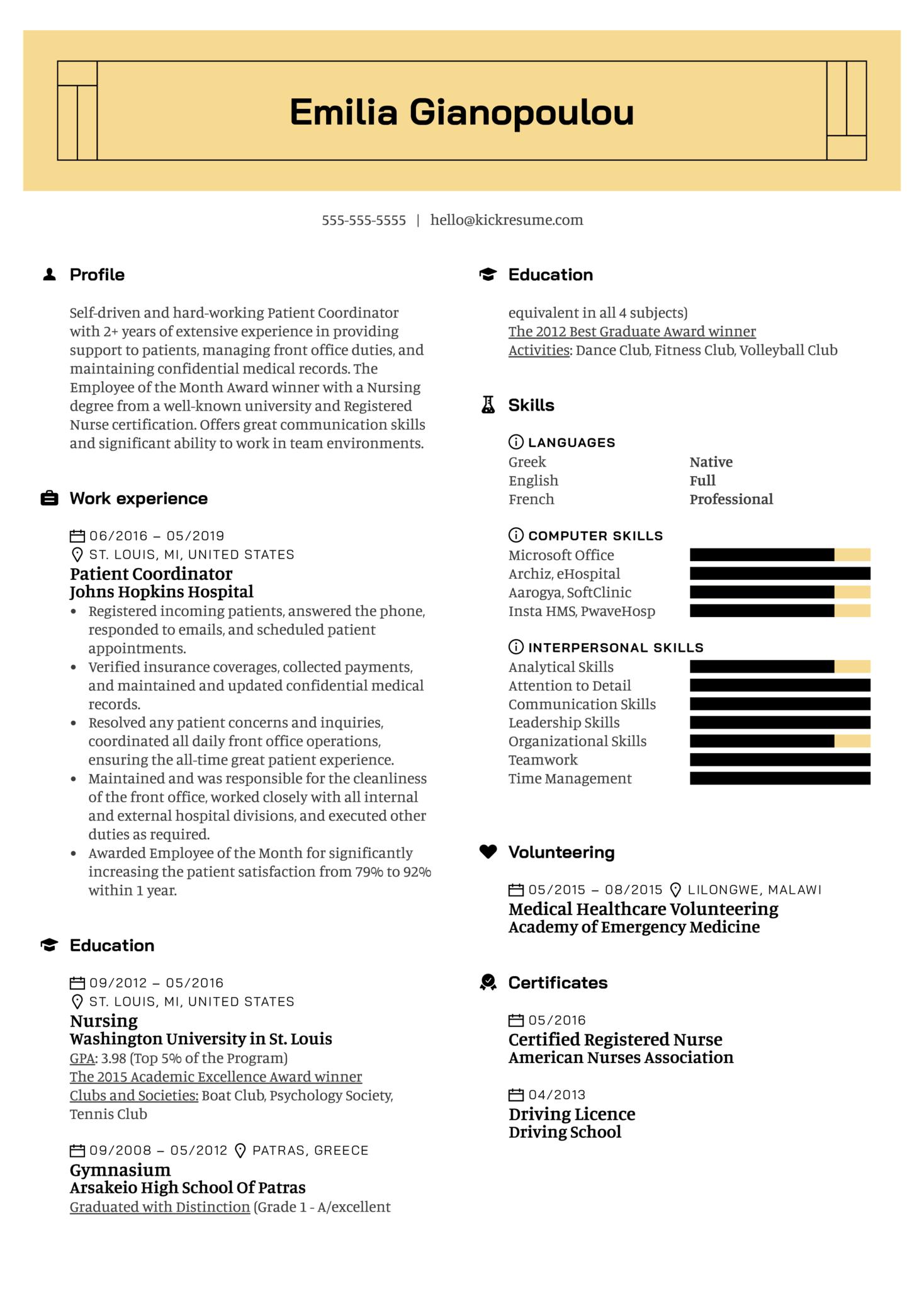 Patient Coordinator Resume Example (Teil 1)
