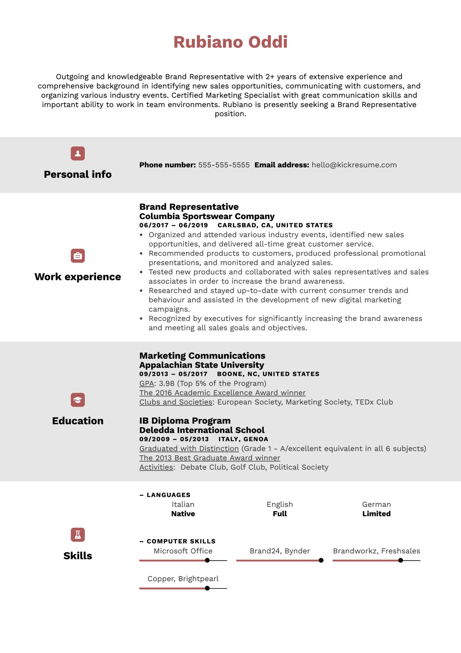 Brand Representative Resume Sample (Part 1)