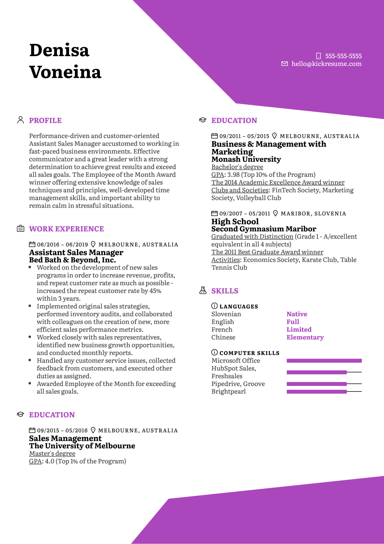 Assistant Sales Manager Resume Example (Teil 1)