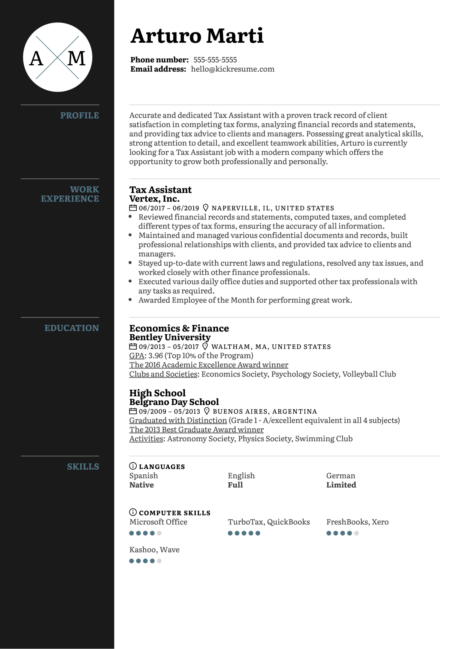 Tax Assistant Resume Sample (Part 1)
