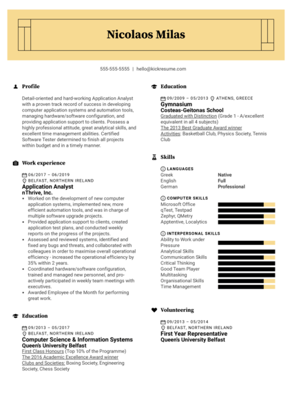 Application Analyst Resume Sample