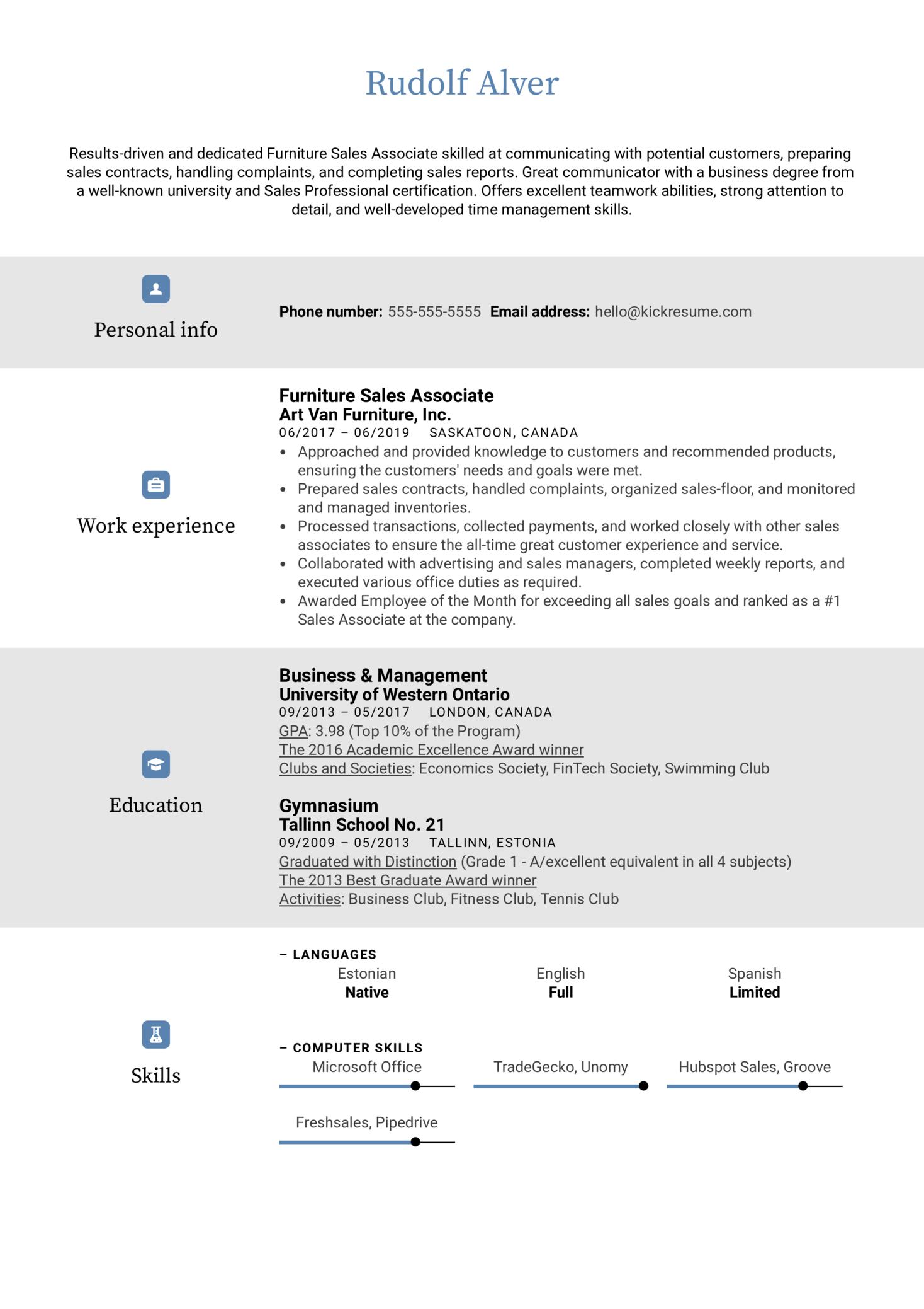 Furniture Sales Associate Resume Sample (Parte 1)