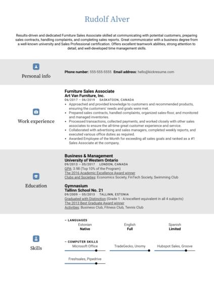 Furniture Sales Associate Resume Sample