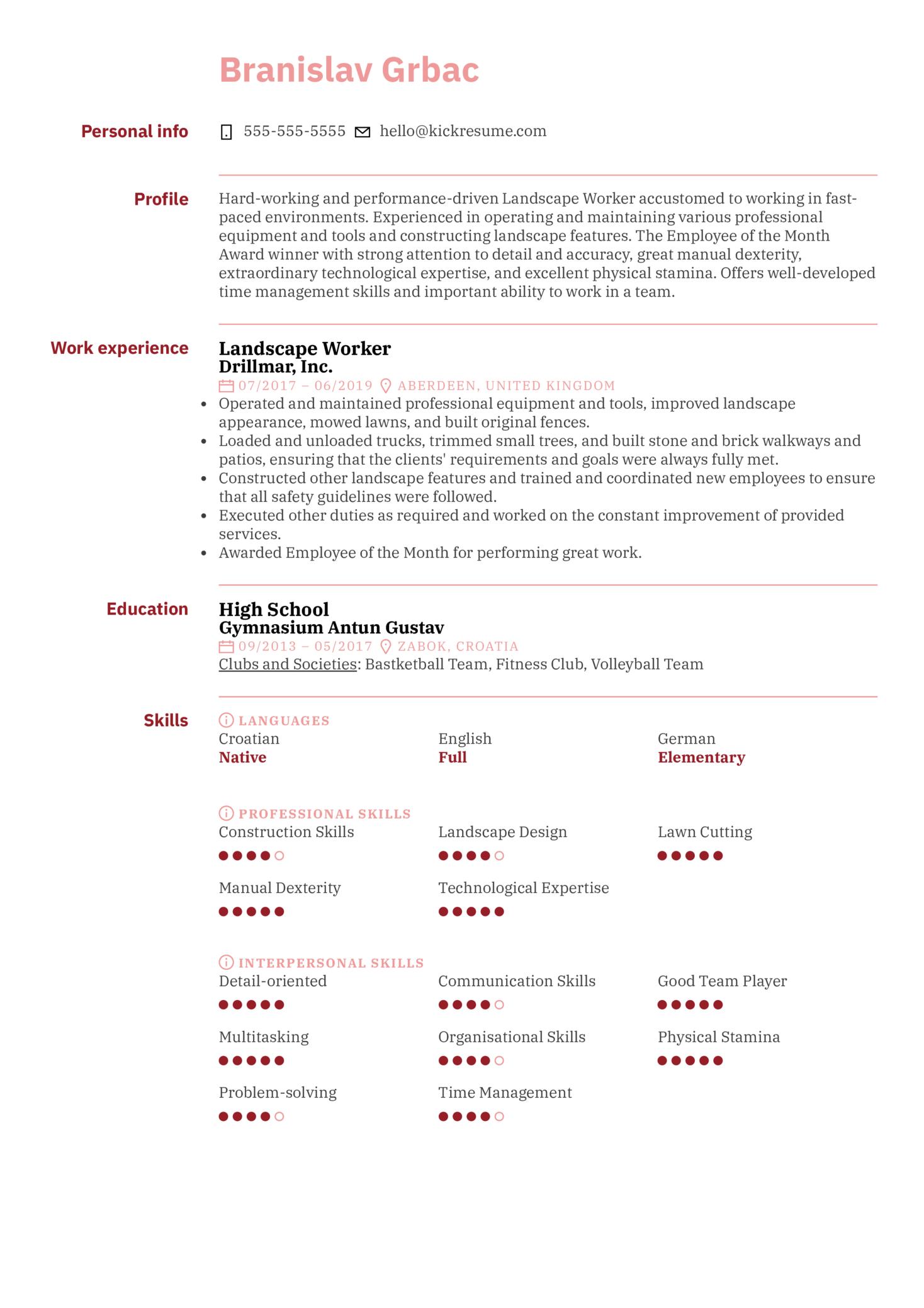 Landscape Worker Resume Sample (Teil 1)