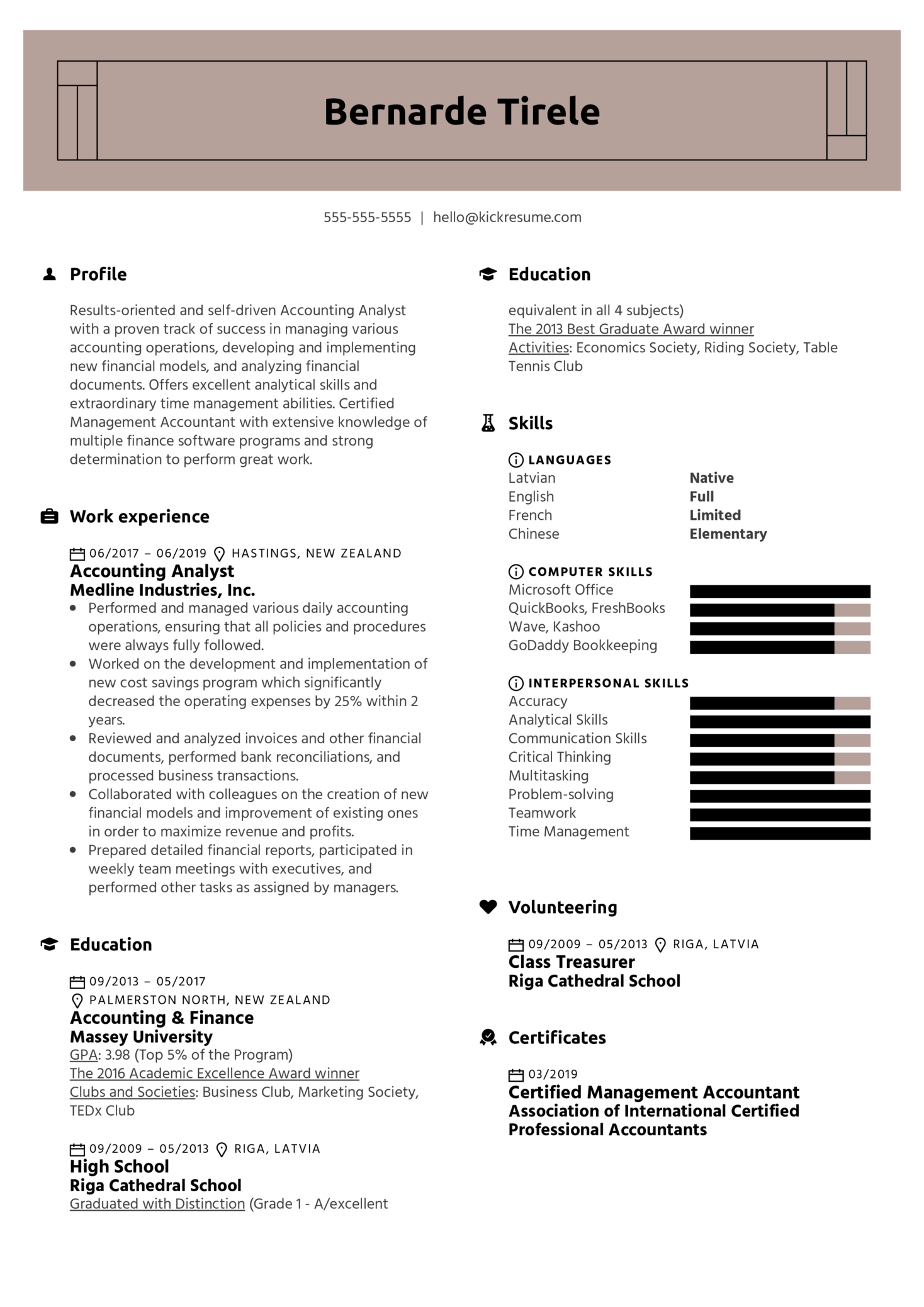 Accounting Analyst Resume Sample (Part 1)