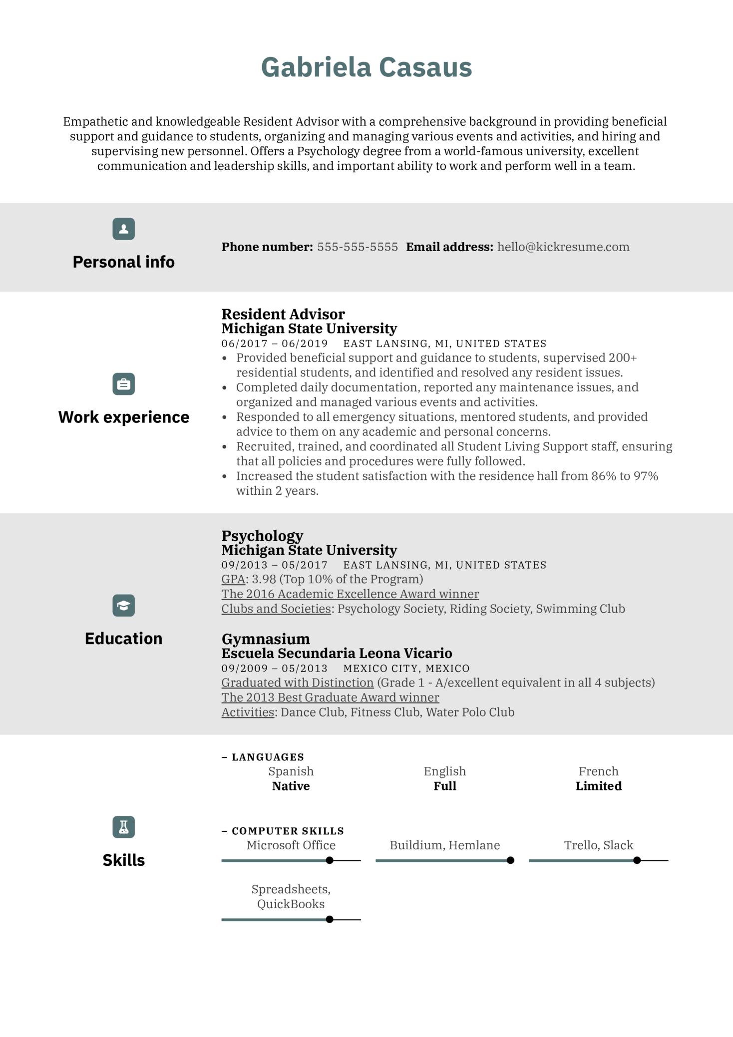 Resident Advisor Resume Sample (parte 1)
