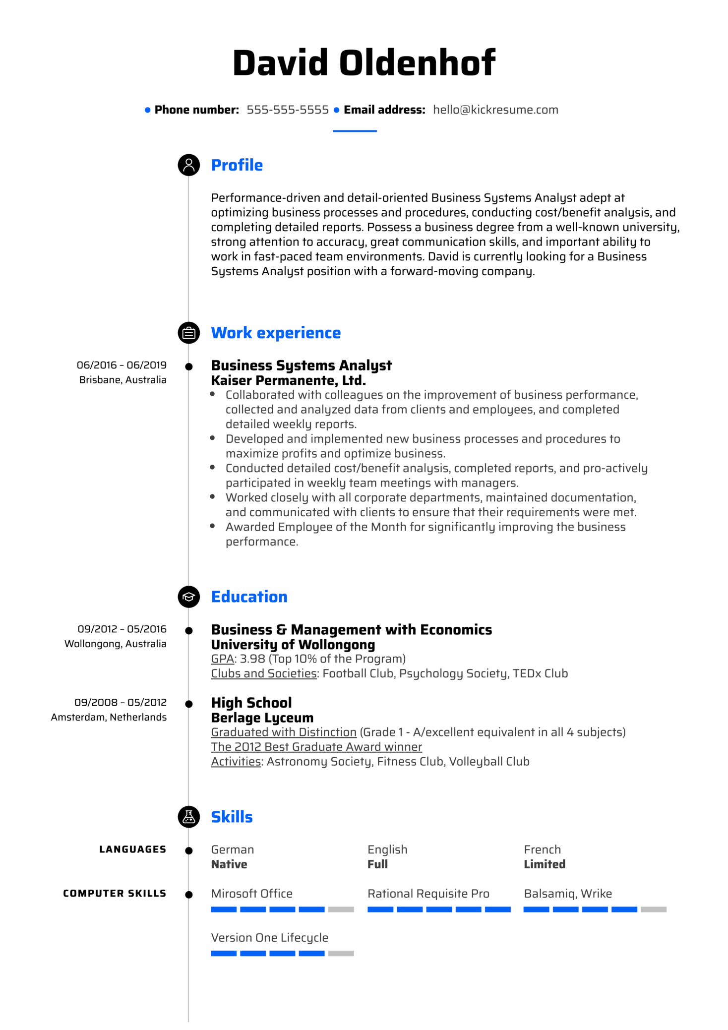 Business Systems Analyst Resume Sample (parte 1)