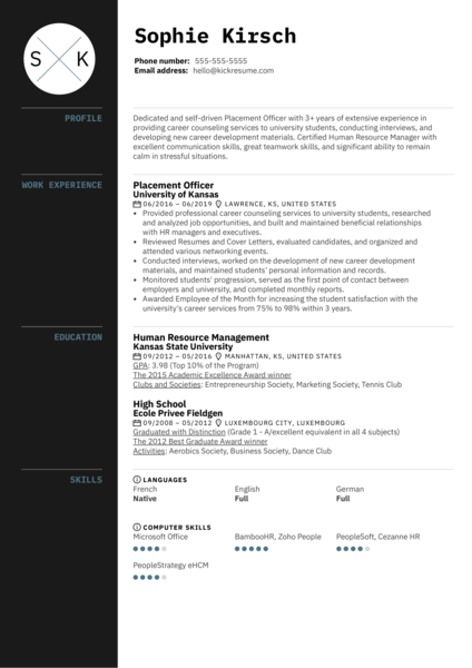 Placement Officer Resume Example