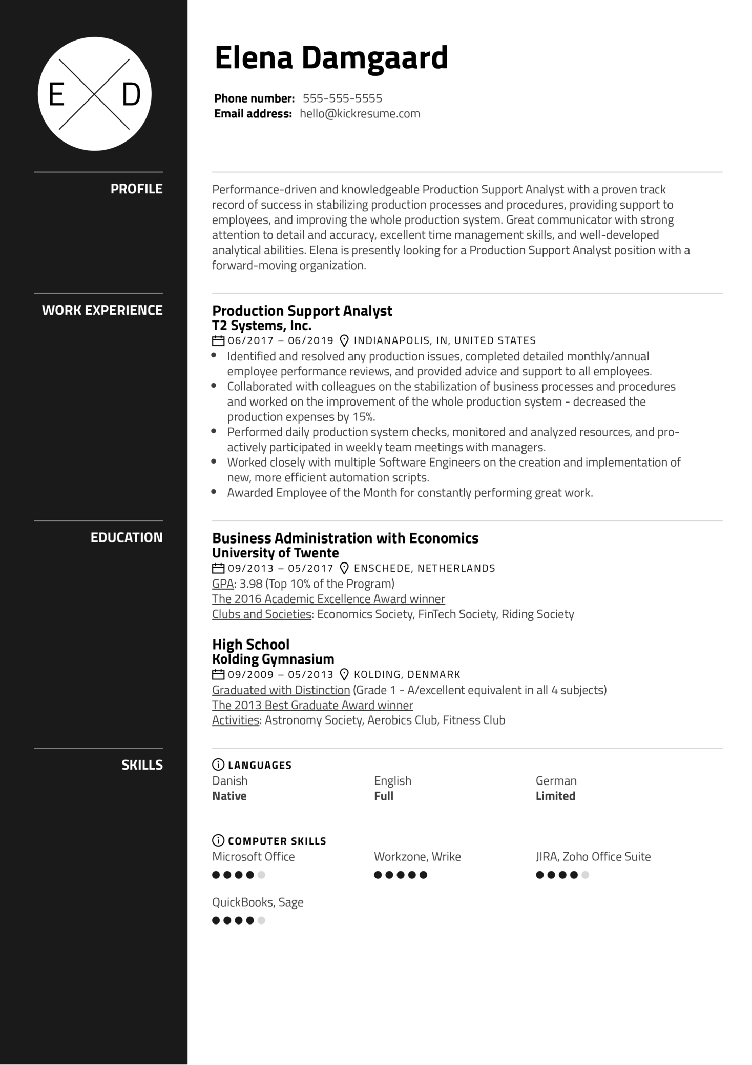 Production Support Analyst Resume Example (časť 1)
