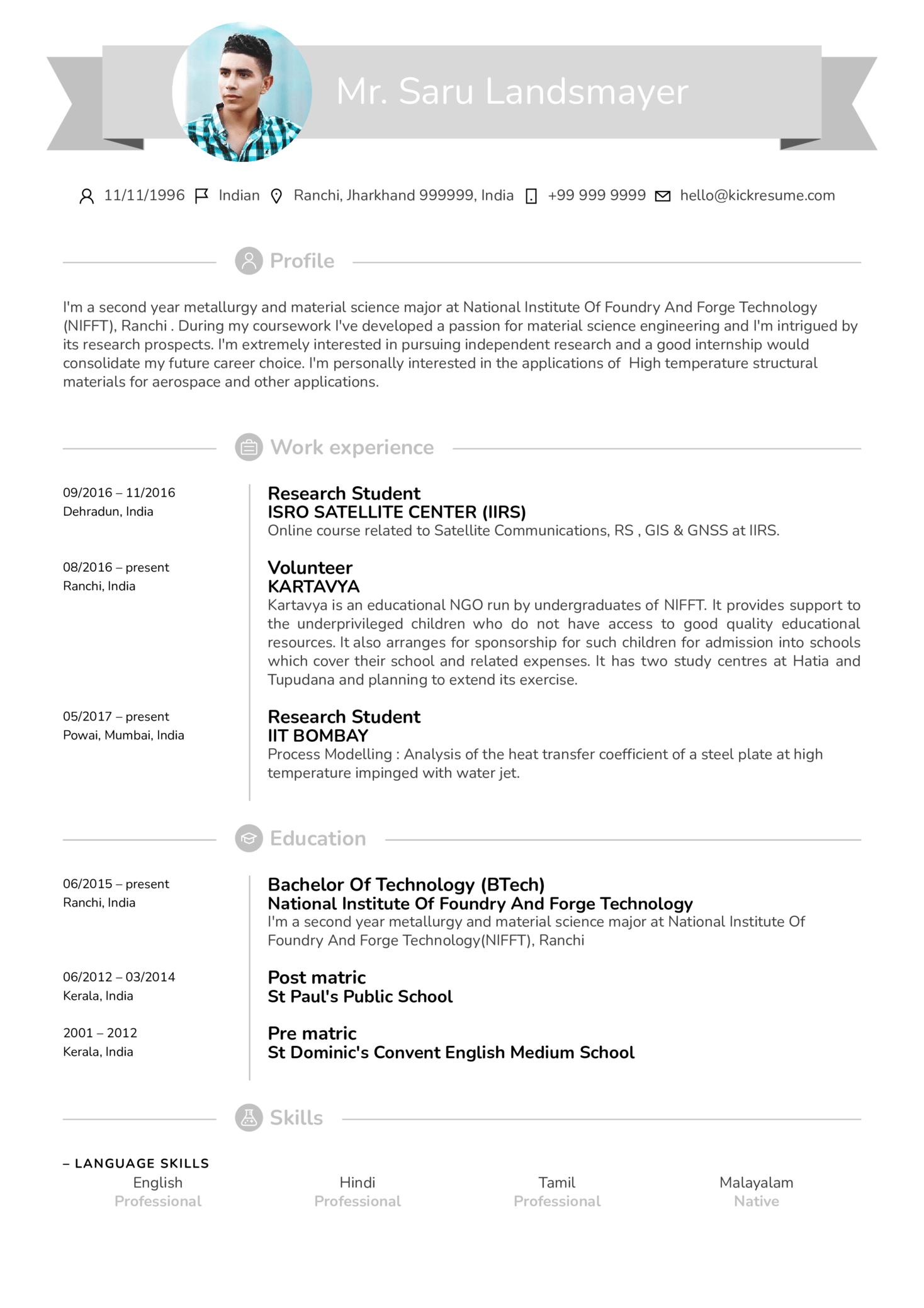 Research Intern Resume Sample (parte 1)