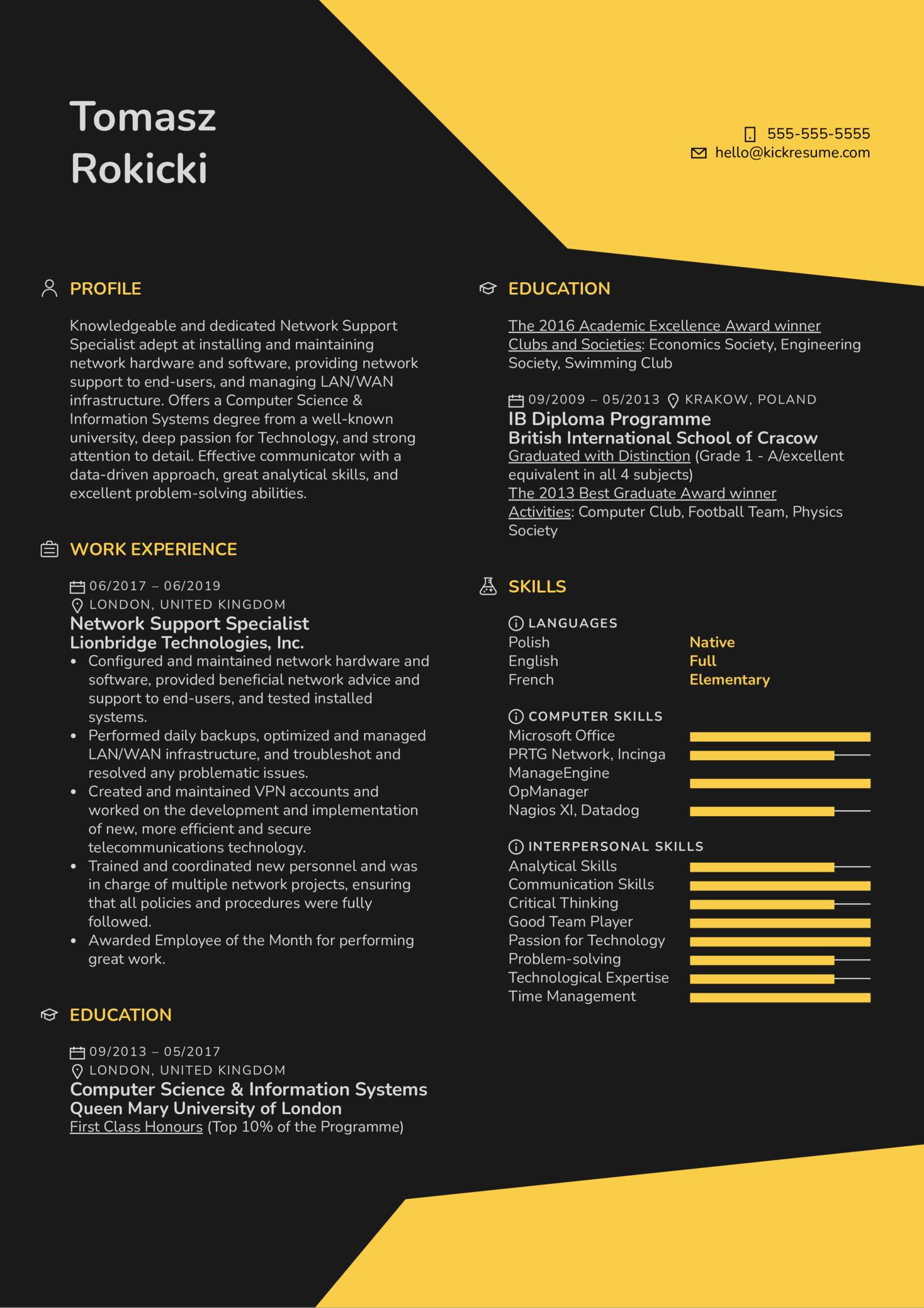 Network Support Specialist Resume Sample (časť 1)