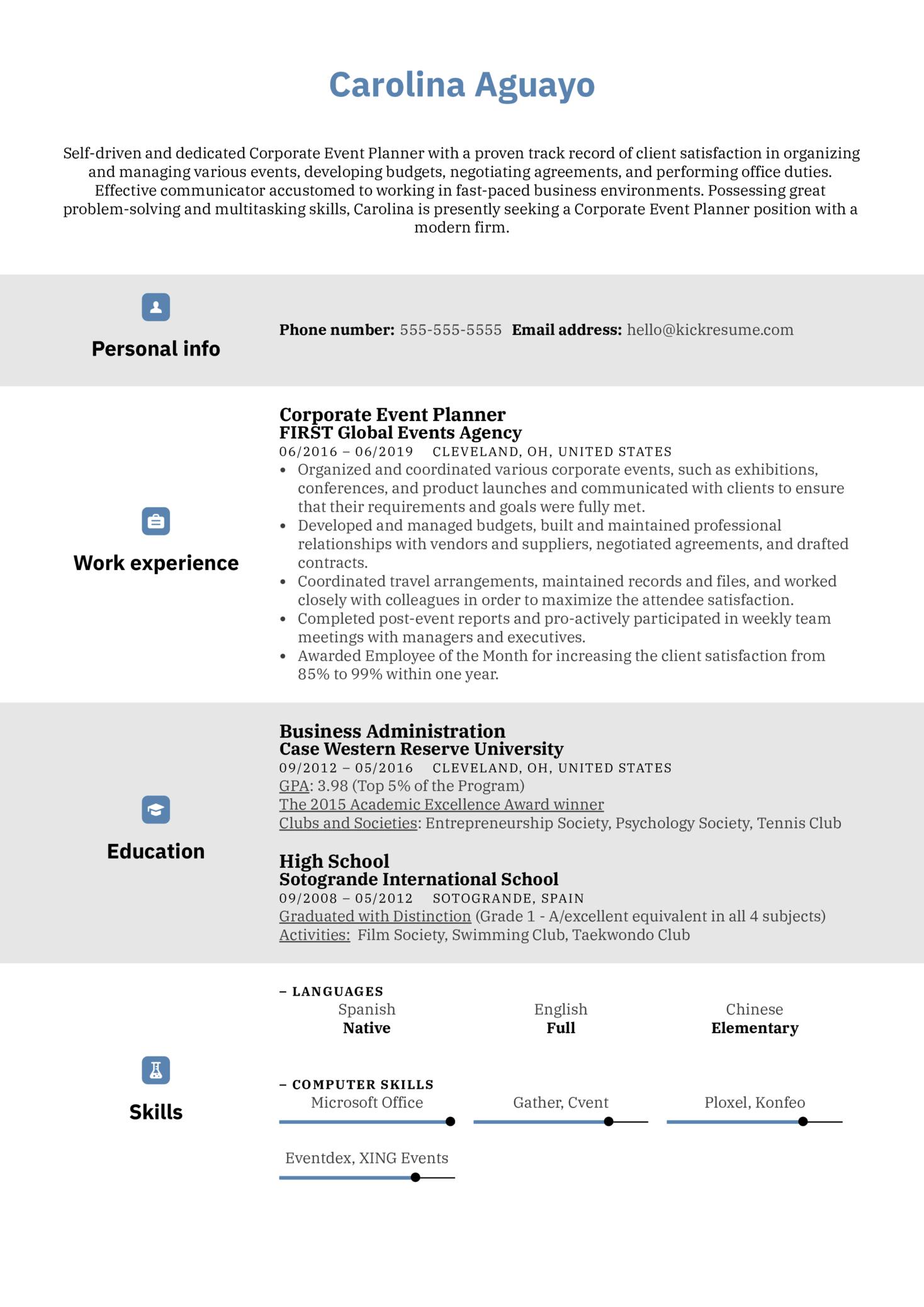 Corporate Event Planner Resume Sample (Part 1)