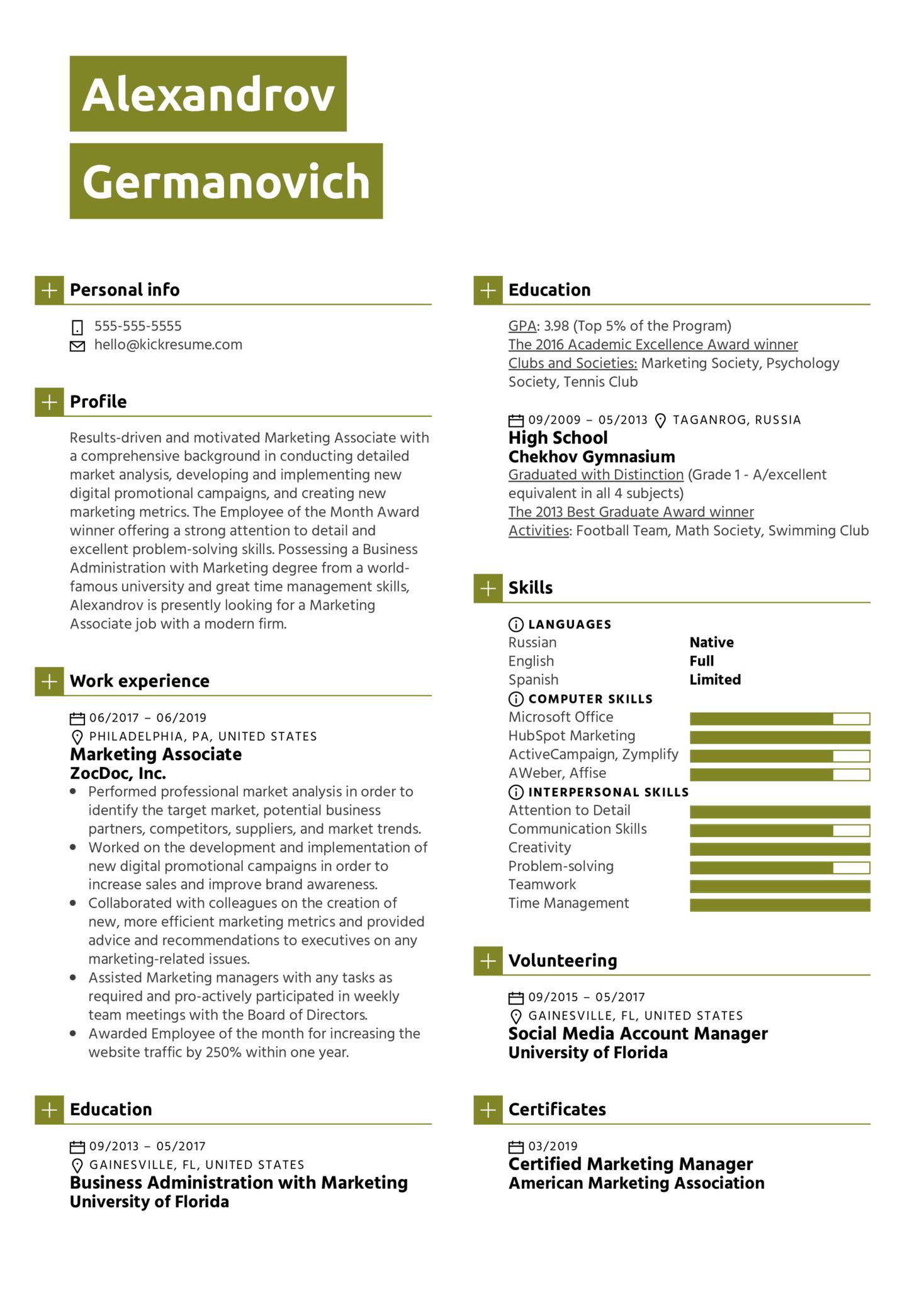 Marketing Associate Resume Sample (parte 1)