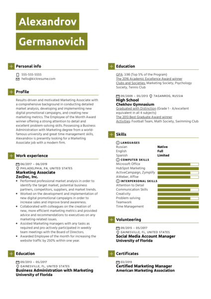 Marketing Associate Resume Sample