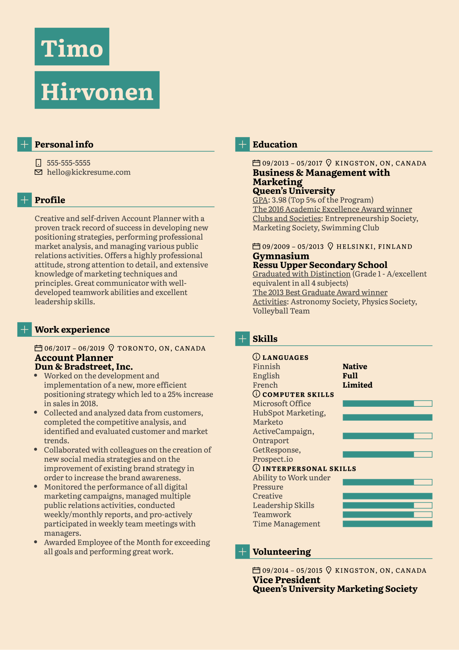 Account Planner Resume Example (Part 1)