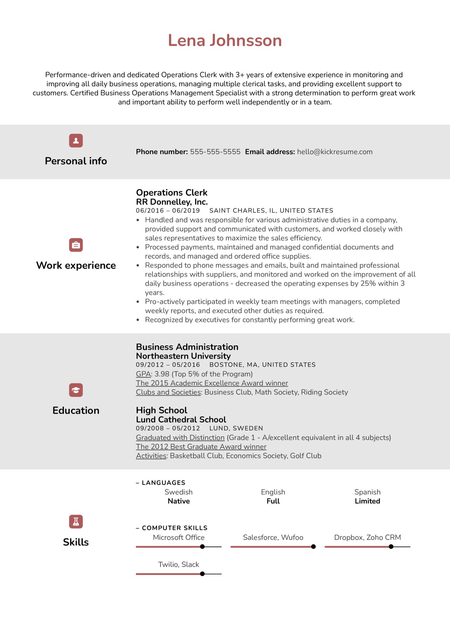 Operations Clerk Resume Sample (Part 1)