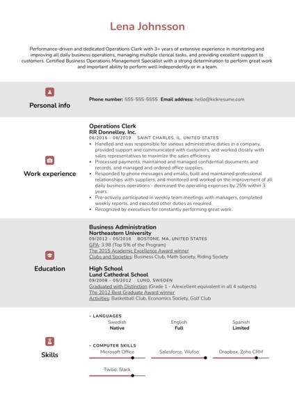 Operations Clerk Resume Sample
