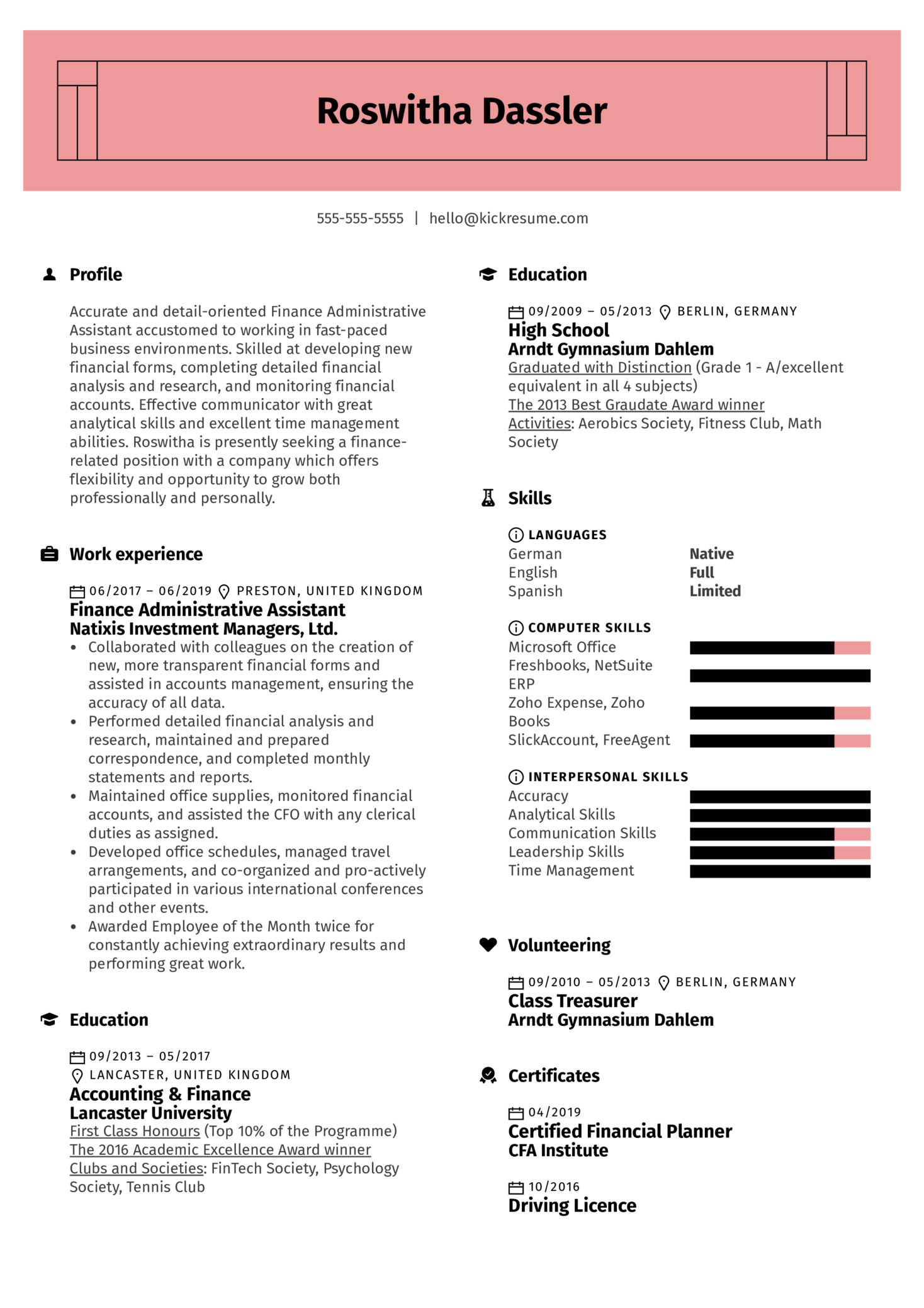 Finance Administrative Assistant Resume Sample (Part 1)