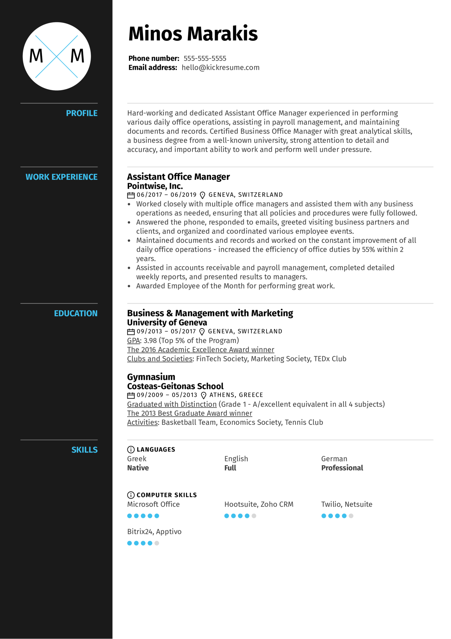 Assistant Office Manager Resume Sample (Part 1)