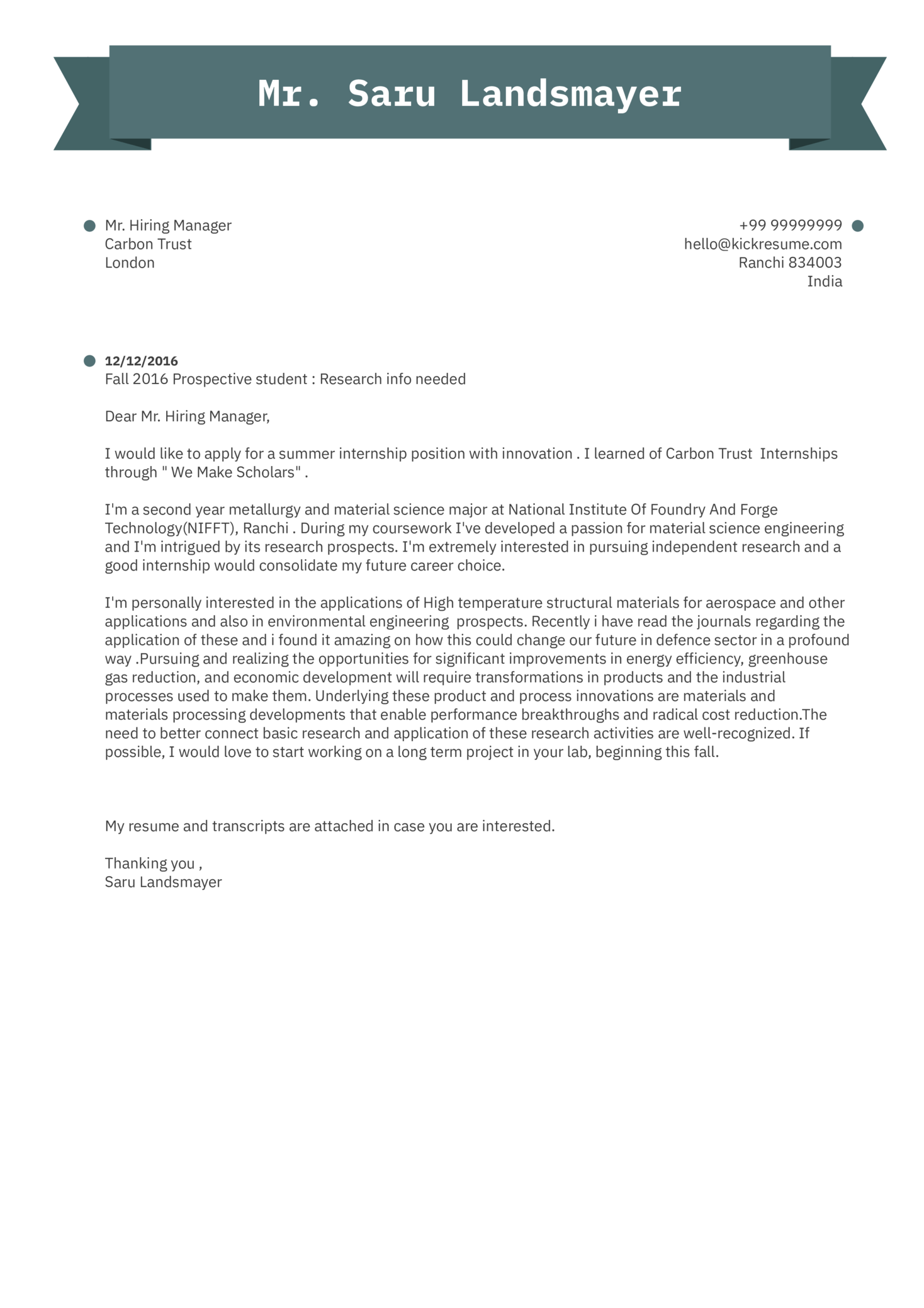 Research Intern Cover Letter Example