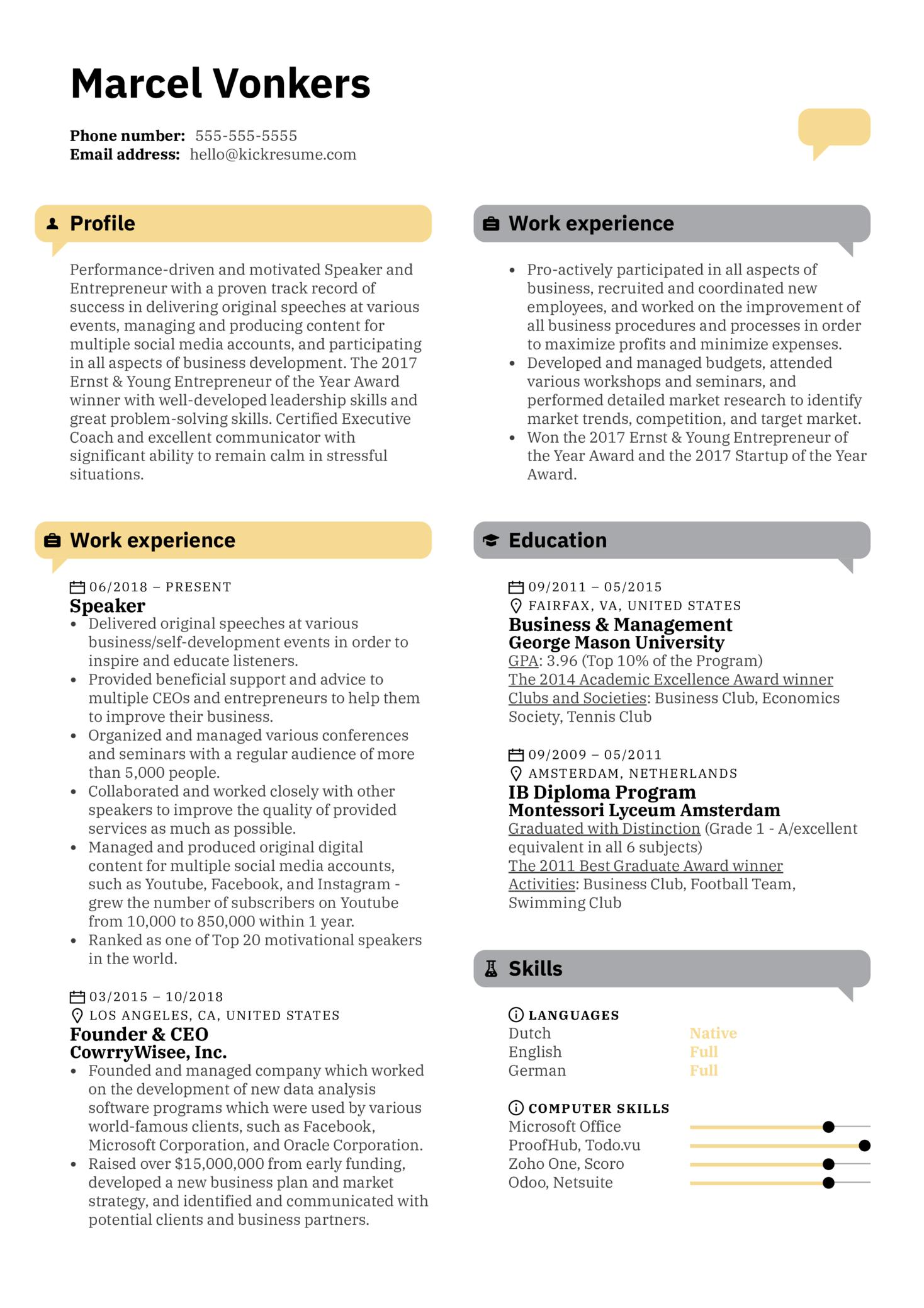 Speaker Resume Template (parte 1)
