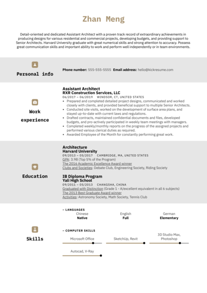 Assistant Architect Resume Example