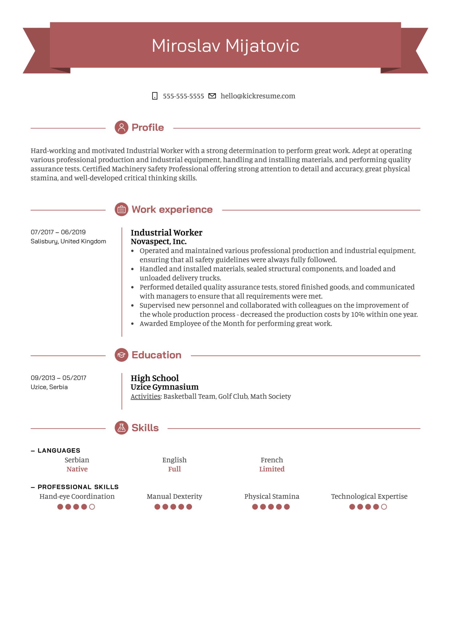 Industrial Worker Resume Sample (Parte 1)
