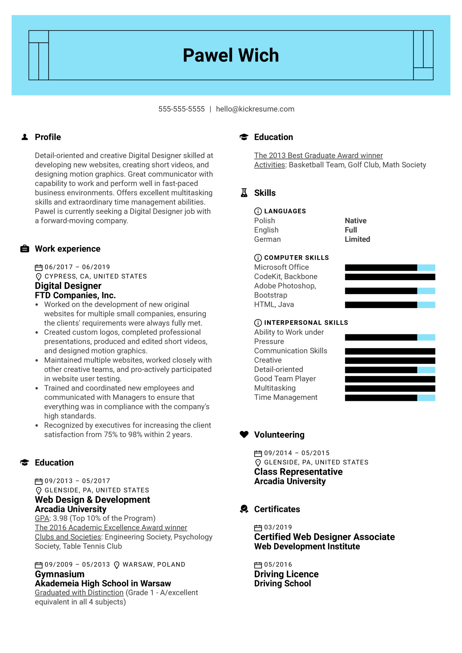 Digital Designer Resume Example (Part 1)