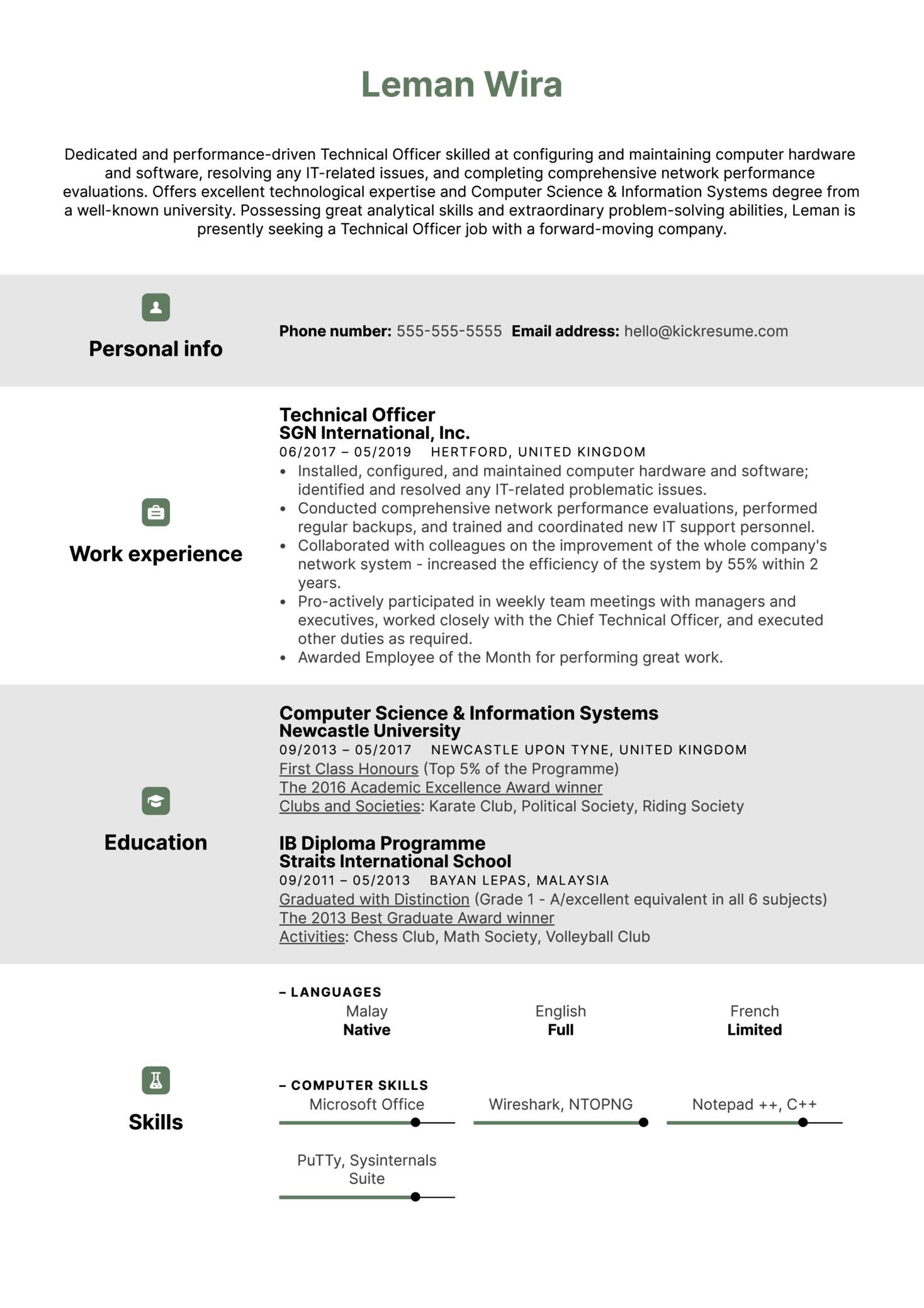 Technical Officer Resume Sample (Part 1)