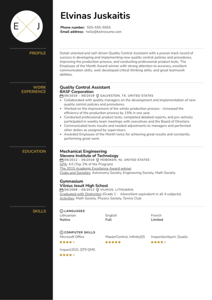Quality Control Assistant Resume Sample