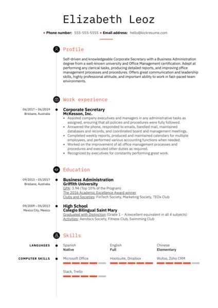 Corporate Secretary Resume Example